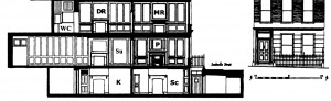 DR=dining room; K=kitchen; MR=morning room; P=parlor; Sc=scullery' Su=surgery; WC=water closet.
