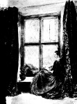 """Opposite [page 51]  Florence Nightingale sitting by a window at Lea Hurst: a portrait, now at Claydon House, which shows her in a reflective mood"" (Huxley, 50)."
